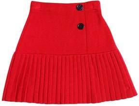 Sonia Rykiel Wool Blend Knit Skirt W/ Plisse Hem