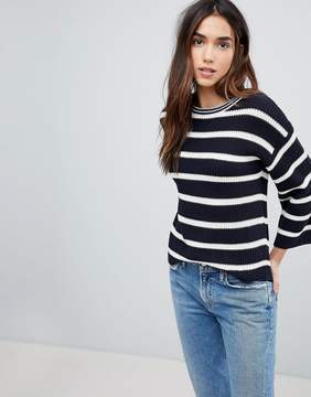 Brave Soul Treen Stripe Sweater With Wide Sleeves