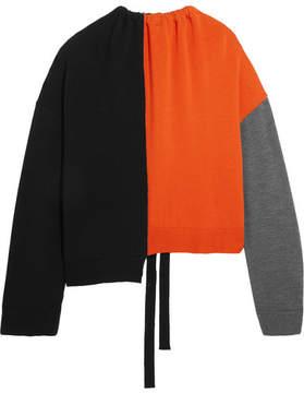 Marni - Oversized Color-block Wool Sweater - Orange