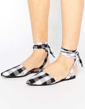 Park Lane Tie Ankle Point Gingham Shoe