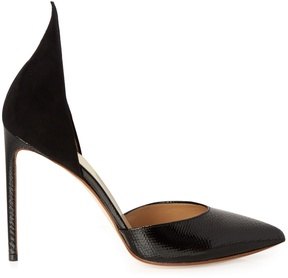 Francesco Russo Point-toe snakeskin and suede pumps