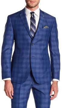 Original Penguin Bright Blue Plaid Two Button Notch Lapel Suit Separates Jacket
