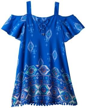 My Michelle Girls 7-16 Flounce Top Pom-Pom Trim Dress