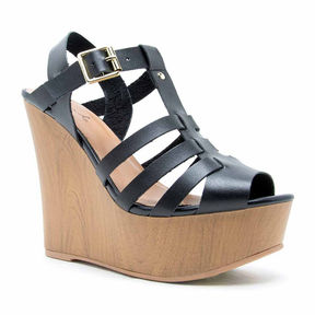 Qupid Strappy Wedge Sandal