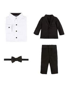 Andy & Evan Wool-Blend Four-Piece Tuxedo Set, Black, Size 2-6