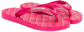 Emporio Armani Kids logo strap flip-flops