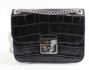 Michael Kors Black Silver Leather Medium Chain Sloan Shoulder Bag - BLACKS - STYLE