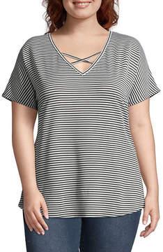 Boutique + + Short Sleeve V Neck Stripe T-Shirt - Plus