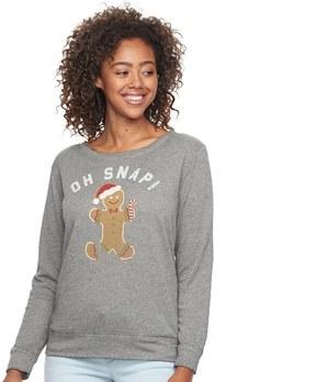 Fifth Sun Junior's Oh Snap! Gingerbread Pullover Sweatshirt