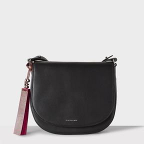 Women's Black Leather Saddle Bag