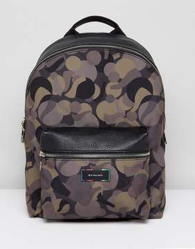 Paul Smith Canvas and Leather Trim Camo Backpack in Khaki