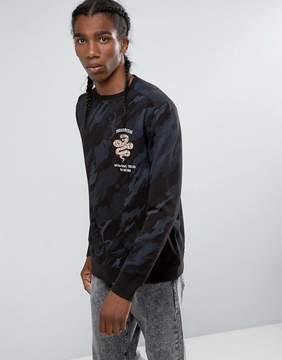 MHI Snake Embroidered Camouflage Crew Neck Sweatshirt