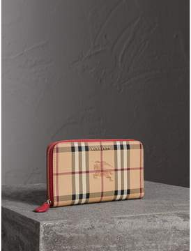 Burberry Haymarket Check and Leather Ziparound Wallet - CORAL RED - STYLE