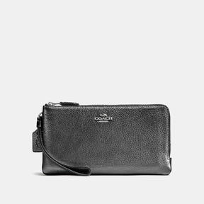 COACH Coach Double Zip Wallet - SILVER/METALLIC GRAPHITE - STYLE