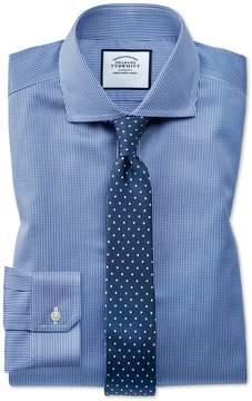 Charles Tyrwhitt Super Slim Fit Spread Collar Non-Iron Puppytooth Royal Blue Cotton Dress Shirt French Cuff Size 14/33