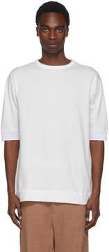 Robert Geller White Mesh Rib T-Shirt