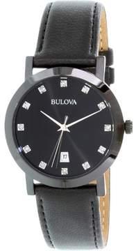 Bulova Diamond Black Quartz Analog Unisex Watch 98D124