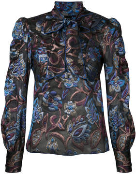 Anna Sui sheer floral blouse with neck tie