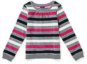 Nautica Toddler Girls' Striped Velour Sweatshirt (2T-3T)