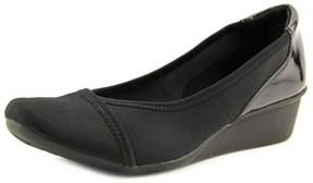 Karen Scott Nelly Women Open Toe Canvas Black Wedge Heel.