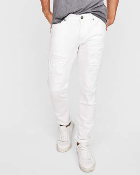 Express Skinny White Distressed 365 Comfort Stretch+ Jeans
