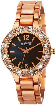 August Steiner Womens Rose Goldtone Strap Watch-As-8135rgbu