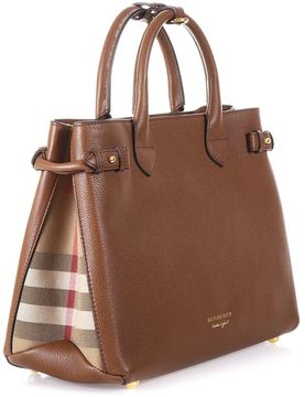 Burberry House Check Leather Bag - TAN - STYLE