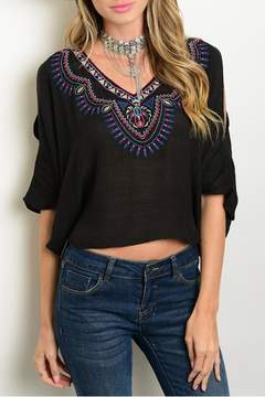 Flying Tomato Black Embroider Top