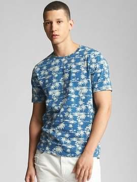 Gap Indigo Palm Print Crewneck T-Shirt