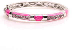 Swarovski White Gold & Pink Hinge Bangle With Crystals