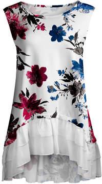 Lily White & Blue Floral Ruffle-Hem Sleeveless Tunic - Women & Plus
