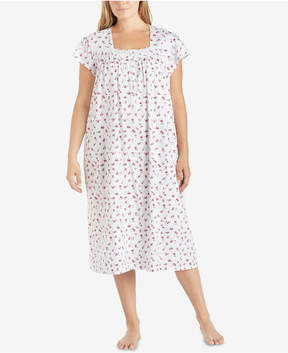 Eileen West Plus Size Printed Cotton Knit Ballet-Length Nightgown