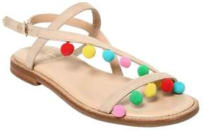 Il Gufo Leather Sandals W/ Pompoms