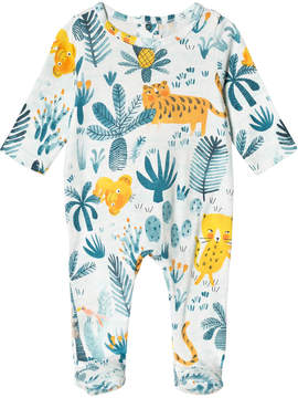 Catimini White and Green Jungle Print Babygrow