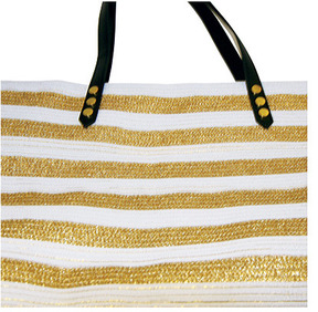 Women's San Diego Hat Company Gold Stripe Polyester Braid Tote BSB1558
