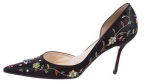 Christian Louboutin Embroidered d'Orsay Pumps