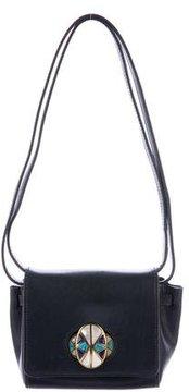 Tory Burch Embellished Leather Shoulder Bag - BLUE - STYLE