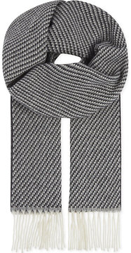 Eton Two-tone knitted wool scarf