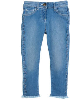 Chloé Raw-Hem Scallop Denim Jeans, Size 6-10