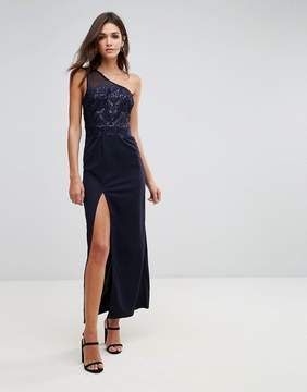 AX Paris Navy Sequin Maxi Dress With Thigh High Split