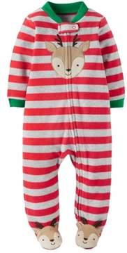 Carter's Infant Boys Fleece Christmas Reindeer Sleep N' Play Blanket Sleeper NB