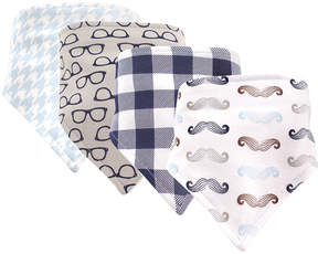 Hudson Baby White & Gray Mustache Triangle Bib - Set of Four