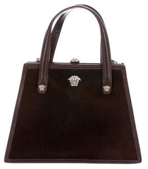 Gianni Versace Calf Hair Leather-Trimmed Satchel