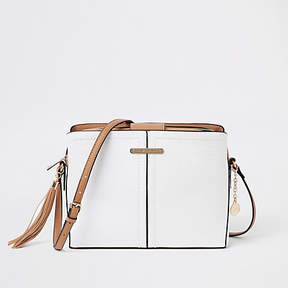 River Island White triple compartment cross body bag