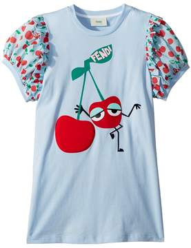 Fendi Cherry Graphic T-Shirt w/ Cherry Sleeves Girl's T Shirt