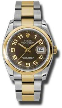 Rolex Datejust 36 Brown Dial Stainless Steel and 18K Yellow Gold Oyster Bracelet Automatic Men's Watch