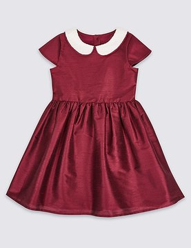 Marks and Spencer Short Sleeve Peter Pan Collar Dress (1-10 Years)
