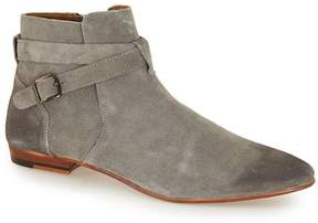 Topman Grey Suede Buckle Ankle Boots