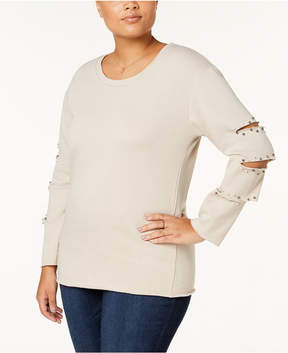 Almost Famous Trendy Plus Size Beaded Cutout-Sleeve Sweatshirt