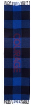 MAISON KITSUNÉ 'Courage' threaded check virgin wool blend scarf